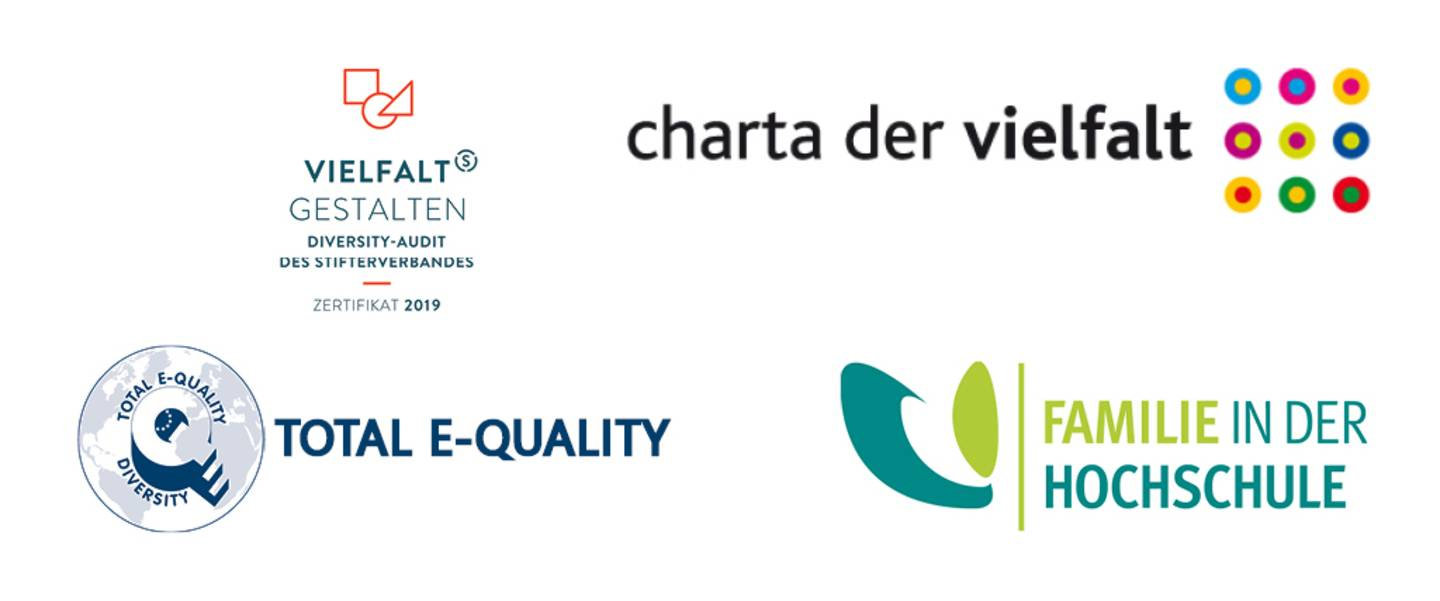 Four logos: Total E-Quality, Audit Diversity Design, Family in the University and Charter of Diversity.