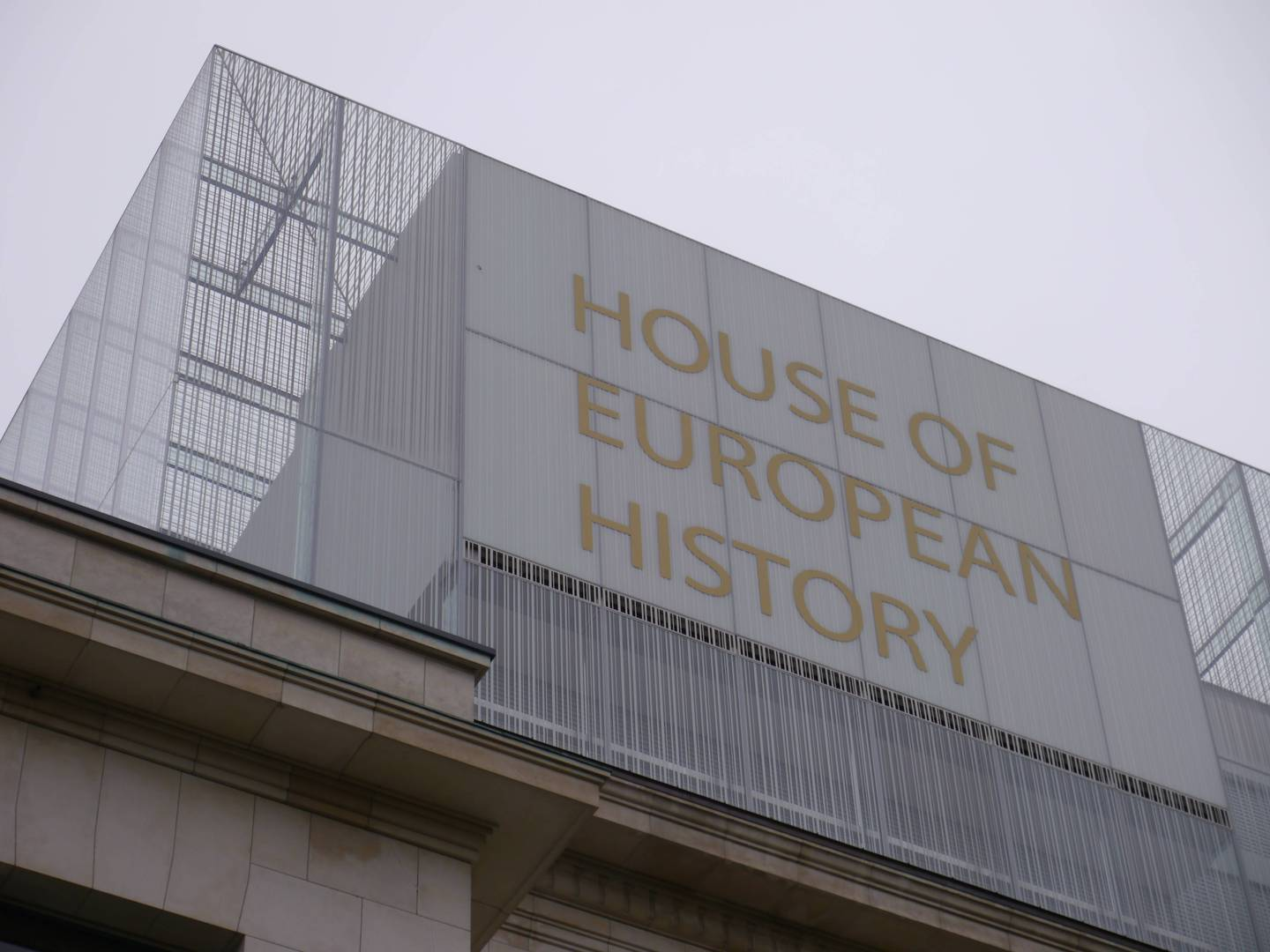 Building of The House of European History from outside. The name is on the building in big golden letters