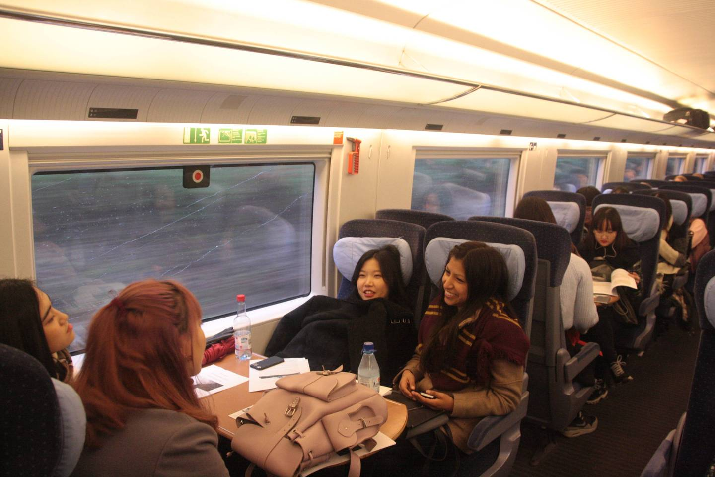 Students in the train on their way to Brussels.