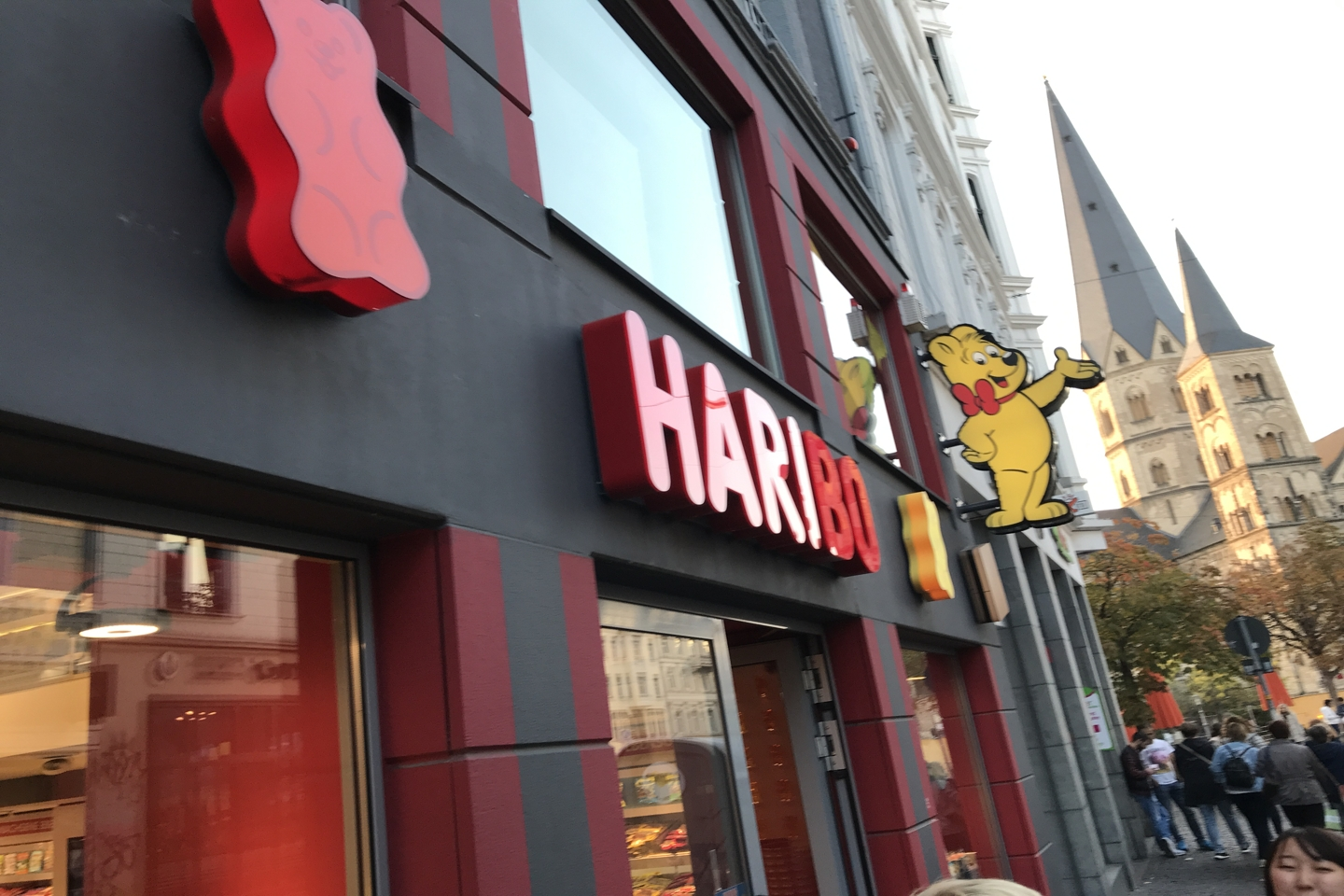 Entrance with logo of the Haribo Store in Bonn.