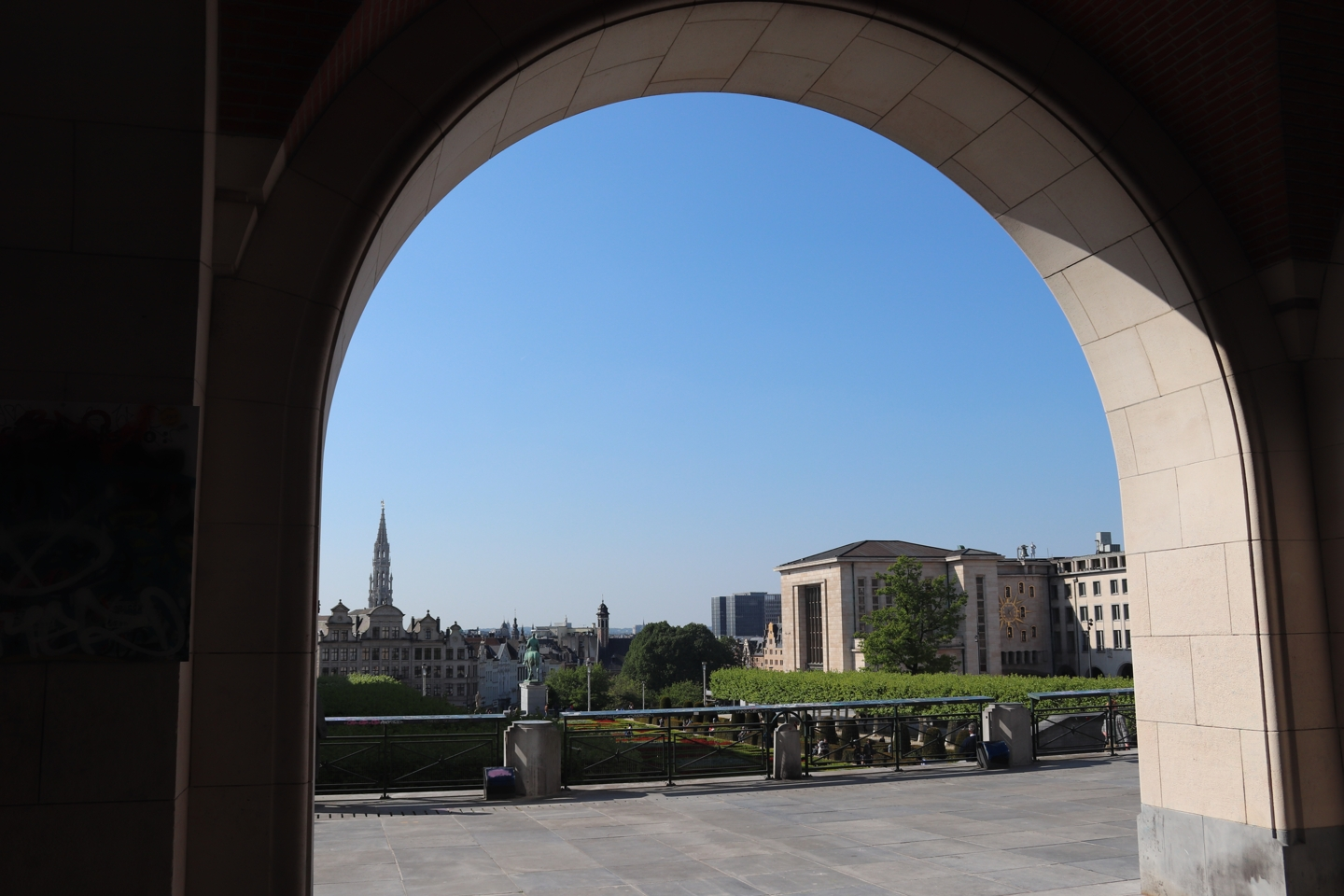 Part of Brussel. Photographed through a archway.