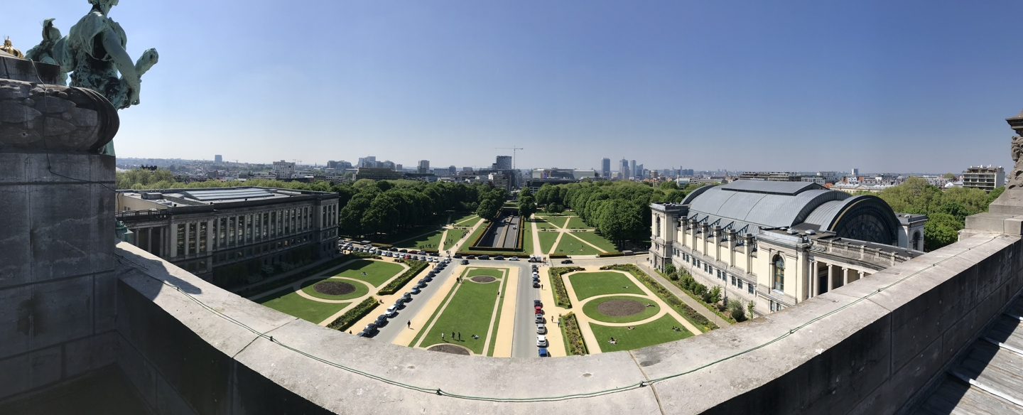 View on the Cinquantenaire park from the top of the Arcades du Cinquantenaire