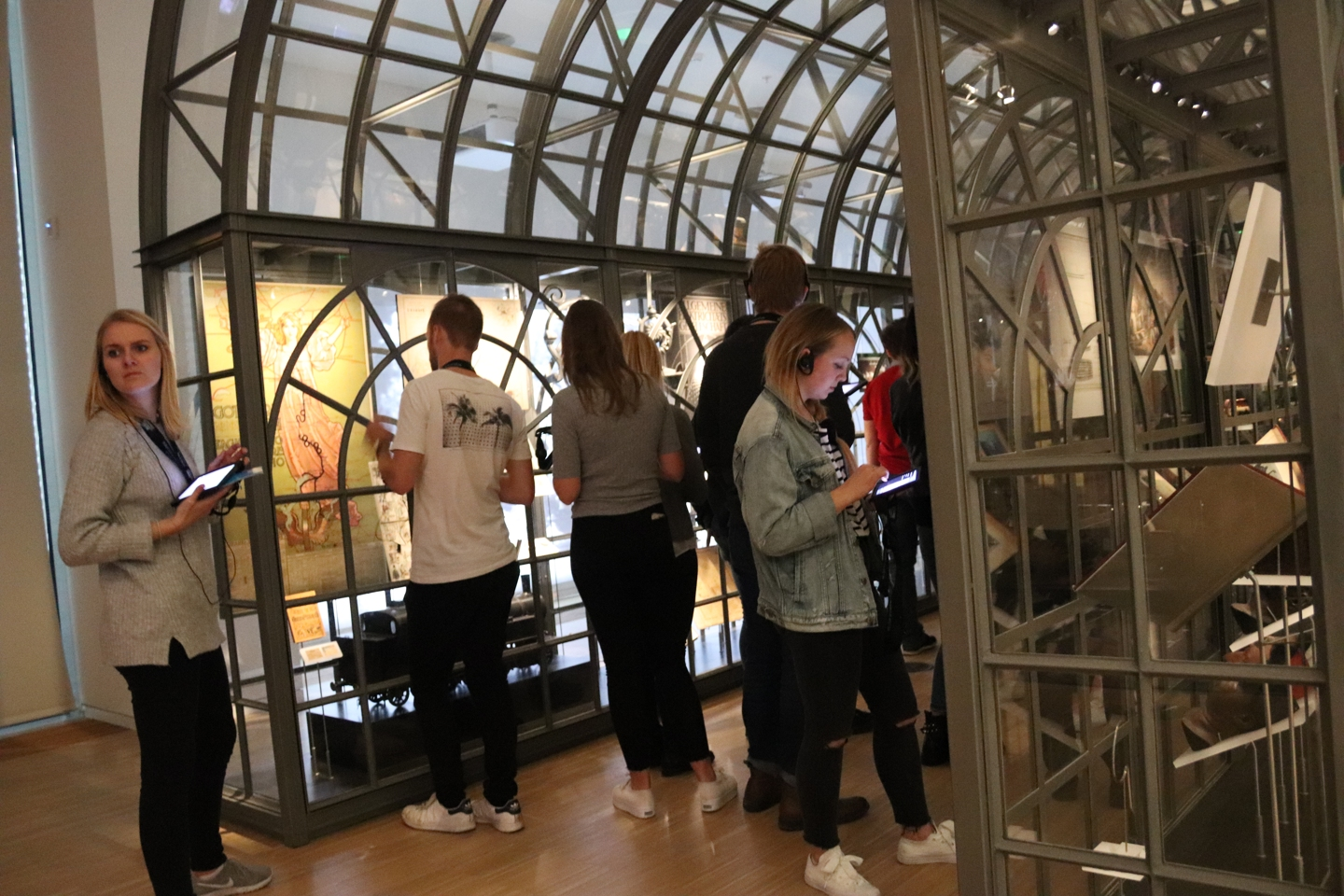 Students looking around in the House of European History