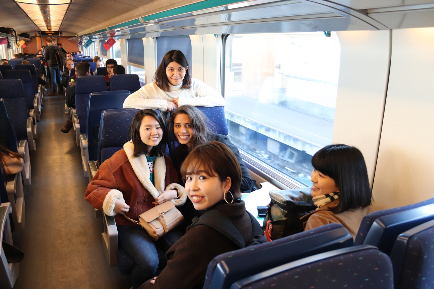 Students in the train to Brussels