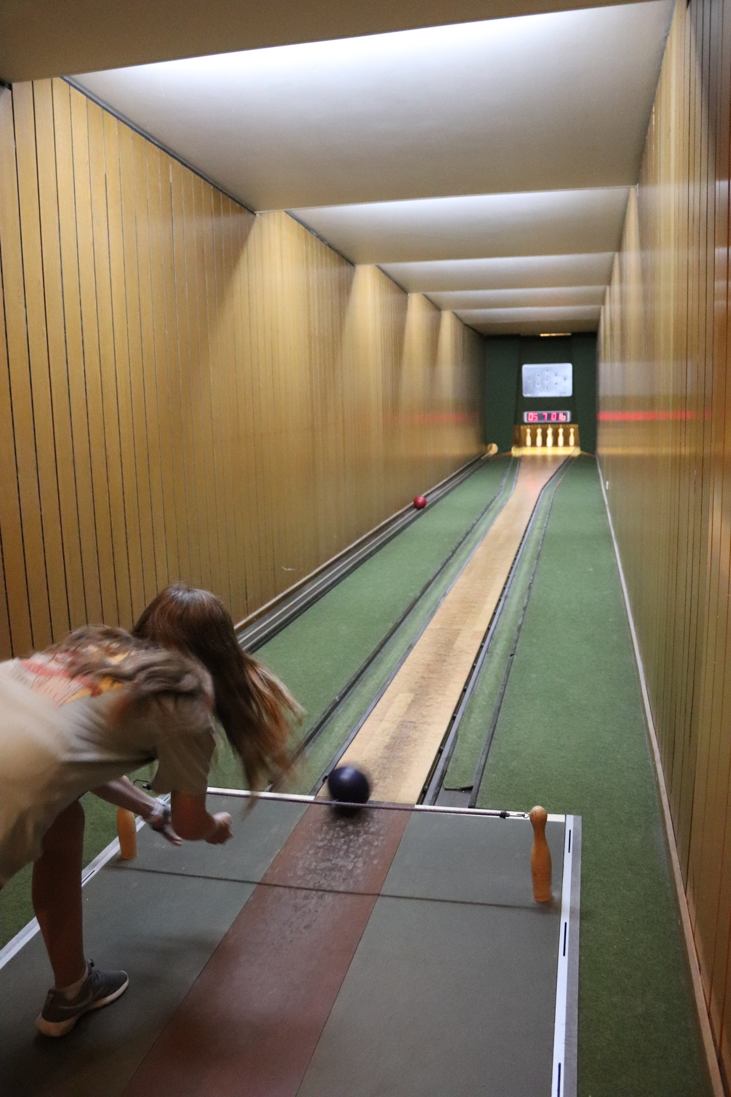 Backview of a bowling student