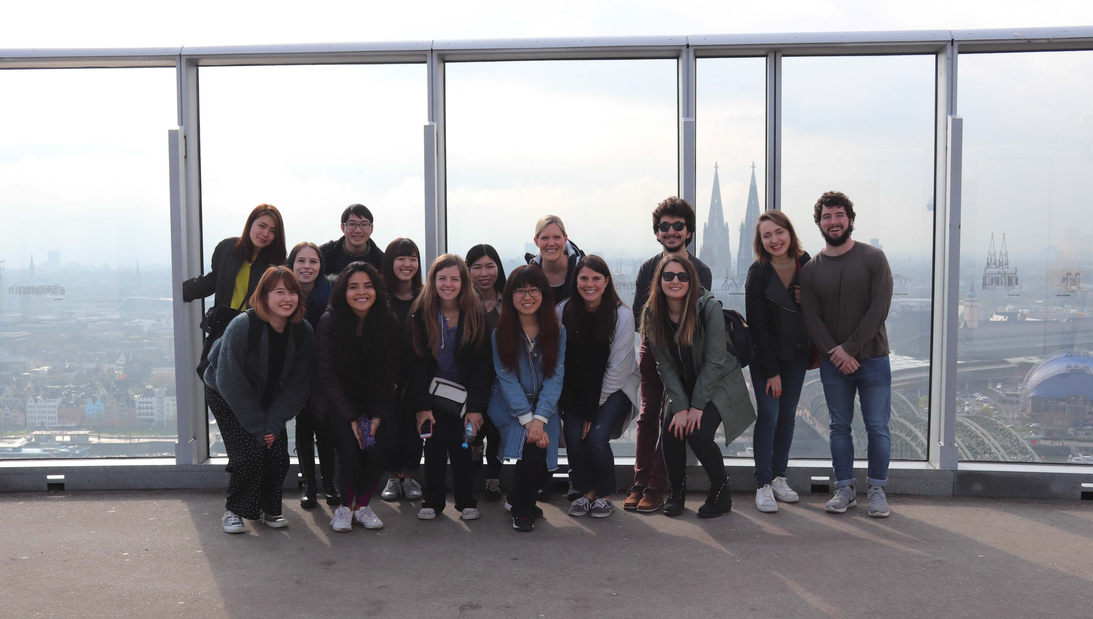 Group picture at the triangle tower in Cologne.