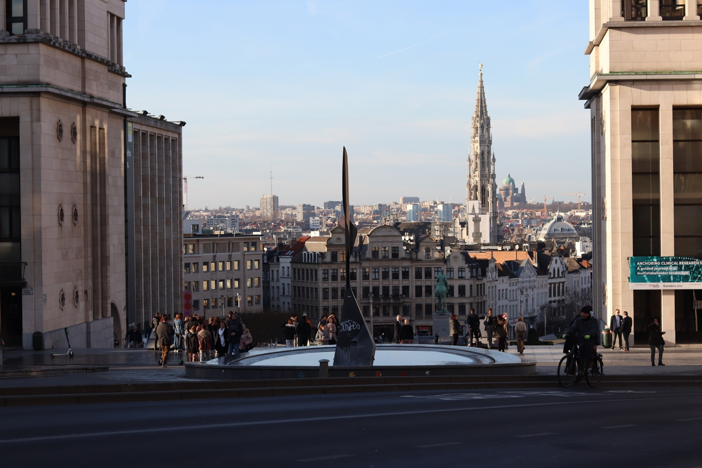 View on Brussels from the top of a large staircase