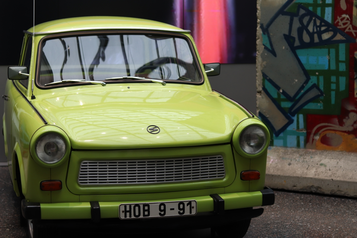 Front view of a lime green old car