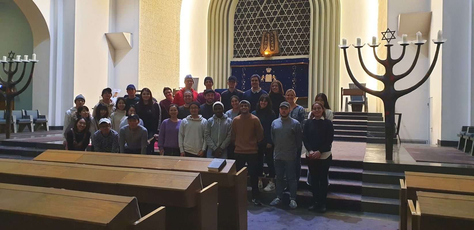 Group picture of students inside the synagogue