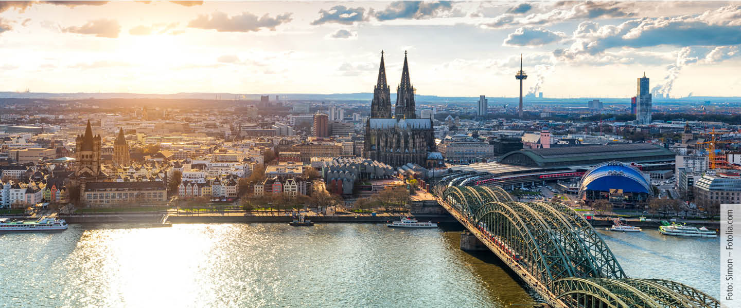 aerial picture of Cologne with cathedral and rhine